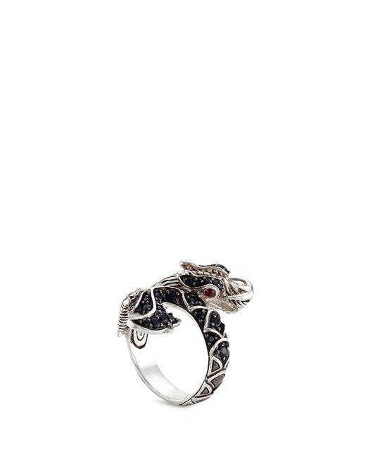 John Hardy | Black Sapphire Ruby Silver Naga Ring | Lyst