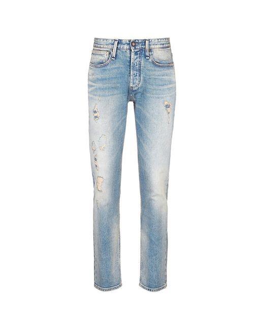 Denham | Blue 'razor' Slim Fit Ripped Jeans for Men | Lyst
