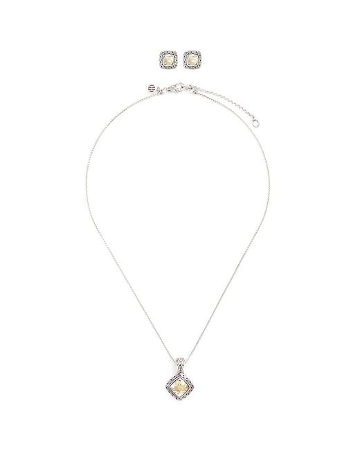 John Hardy | Metallic 'heritage' 18k Yellow Gold Silver Hammered Earrings And Necklace Gift Set | Lyst
