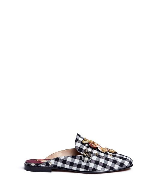 Sam Edelman | Multicolor 'pemberly' Floral Patch Gingham Check Slides | Lyst
