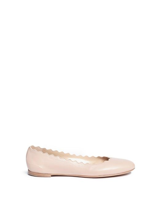 Chloé   Pink 'lauren' Scalloped Leather Ballerina Flats   Lyst