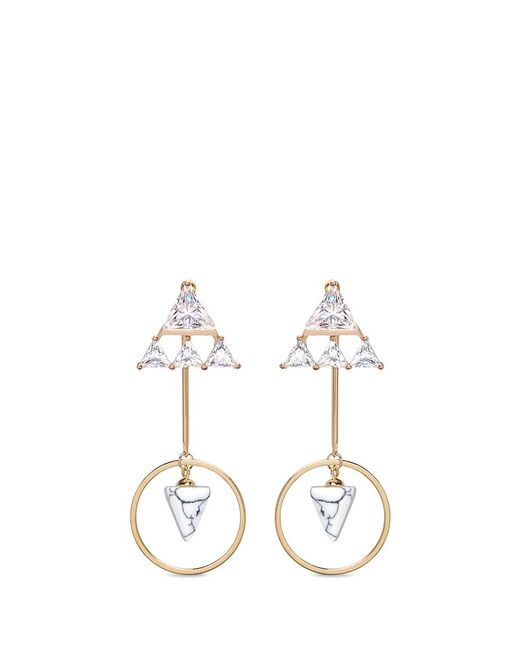 Venna | Metallic Detachable Cone Drop Glass Crystal Triangle Earrings | Lyst