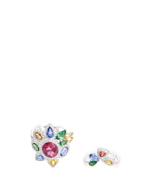 Wendy Yue | Metallic Diamond Gemstone 18k White Gold Two Ring Set | Lyst