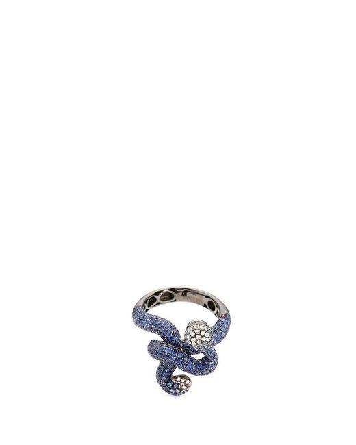 Wendy Yue   Metallic Diamond Garnet Sapphire 18k White Gold Snake Ring   Lyst