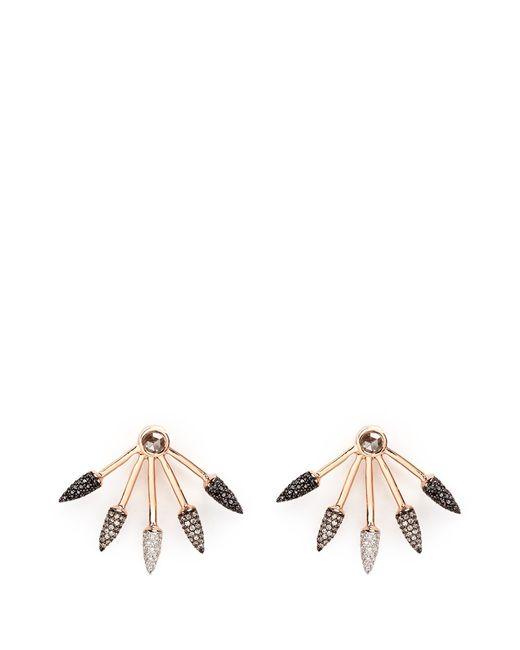 Pamela Love | Pink Ombré 5 Spike' Diamond 18k Rose Gold Fan Earrings | Lyst