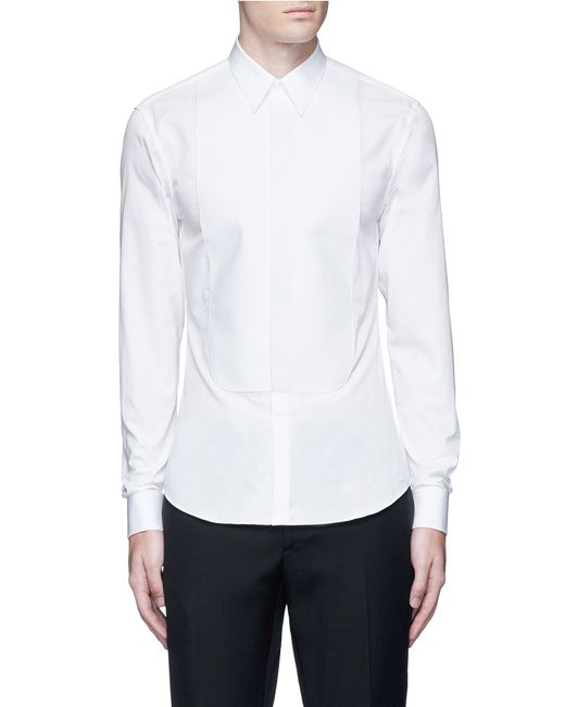 Givenchy bib front cotton tuxedo shirt in white for men lyst for Tuxedo shirt bib front