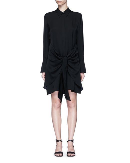 theory 39 talbilla 39 tie front silk shirt dress in black lyst