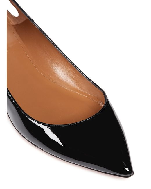 Aquazzura Forever Marilyn Tassel Patent Leather Flats In
