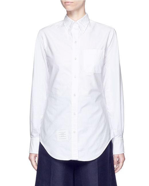 Thom browne button down collar cotton oxford shirt in for White button down collar oxford shirt