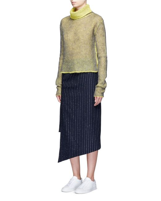 acne 39 pate 39 pinstripe pencil wrap skirt in blue lyst. Black Bedroom Furniture Sets. Home Design Ideas