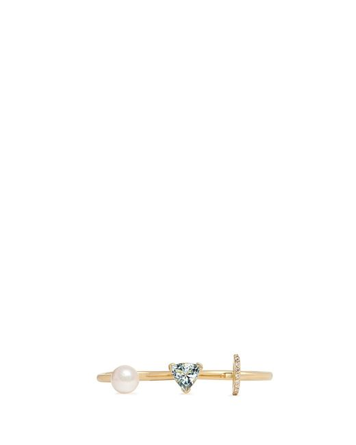 Phyne By Paige Novick | Blue 'marta' 18k Gold Diamond Pavé Pearl Aquamarine Two Finger Ring | Lyst