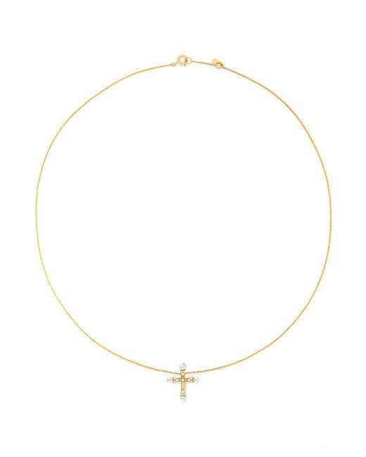 Bao Bao Wan   Metallic 'little Cross' 18k Gold Diamond Pearl Necklace   Lyst