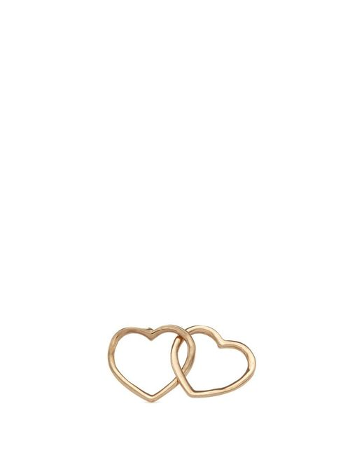 Loquet London | Metallic 'linked Hearts' 14k Yellow Gold Single Stud Earring – Always Together | Lyst