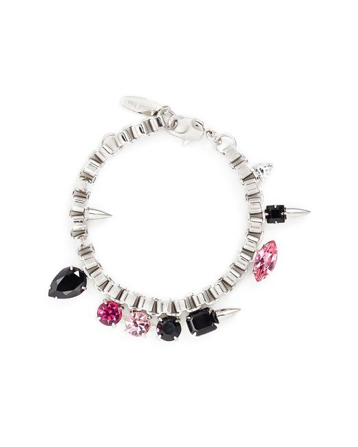 Joomi Lim | Pink 'organized Chaos' Spike Stud Crystal Chain Bracelet | Lyst