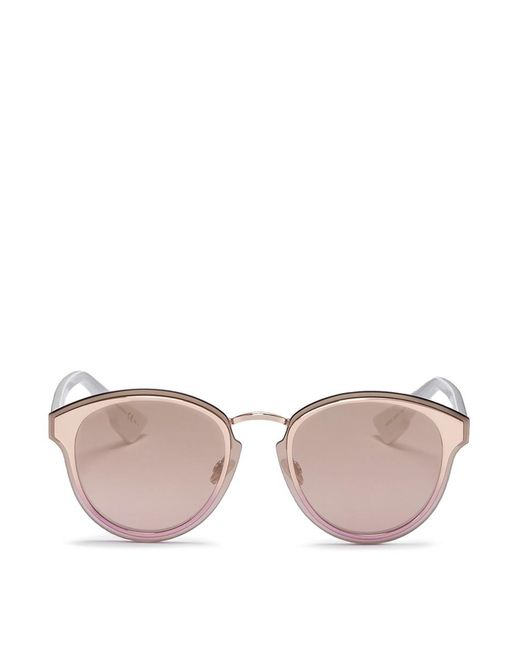 Dior | Pink ' Nightfall' Acetate Temple Metal Round Mirror Sunglasses | Lyst