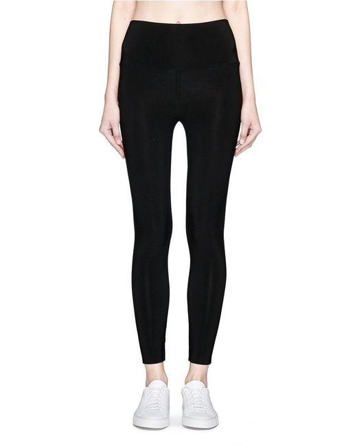 Norma Kamali | Black Stretch Jersey Cropped Leggings | Lyst