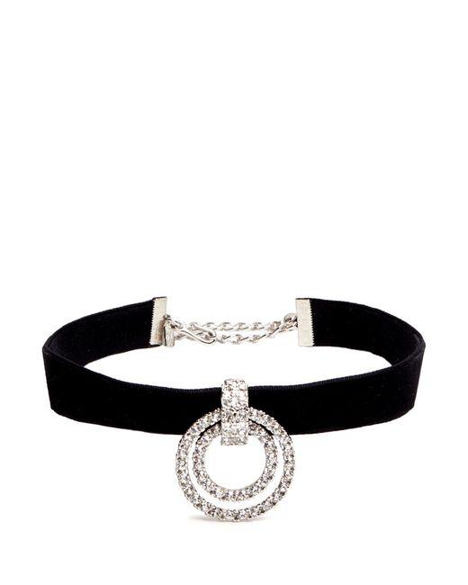 Kenneth Jay Lane   Metallic Circle Crystal Pavé Velvet Choker Necklace   Lyst