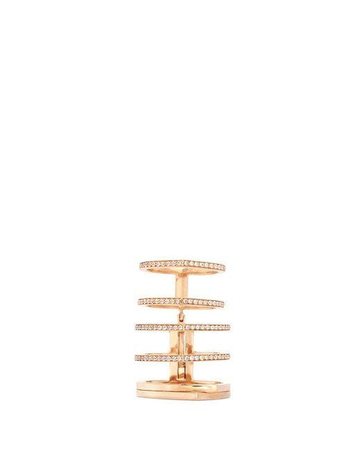 Repossi   Metallic 'antifer' Diamond Pavé 18k Rose Gold Six Row Linked Ring   Lyst