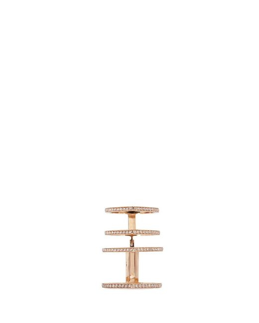 Repossi | Metallic 'antifer' Diamond Pavé 18k Rose Gold Four Row Linked Ring | Lyst