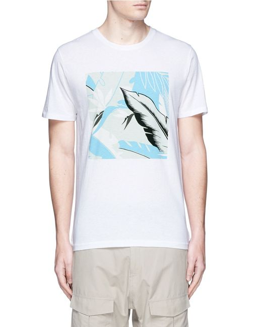 Rag bone hawaiian graphic print t shirt in white for men for Hawaiian graphic t shirts