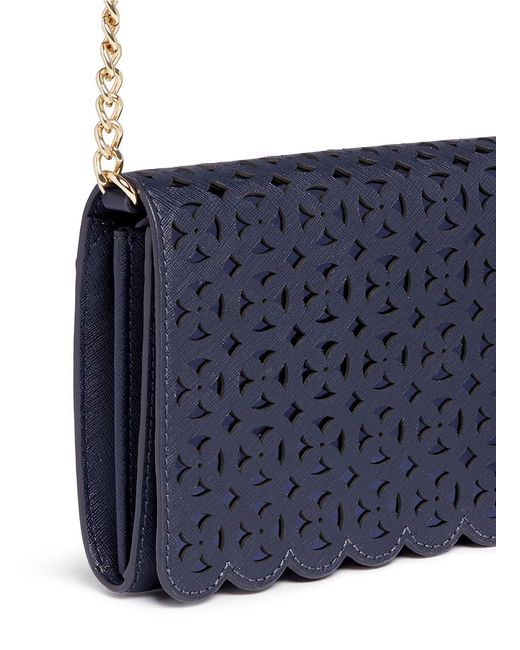 Michael Kors U0026#39;desiu0026#39; Large Floral Perforated Leather Crossbody Bag In Blue | Lyst