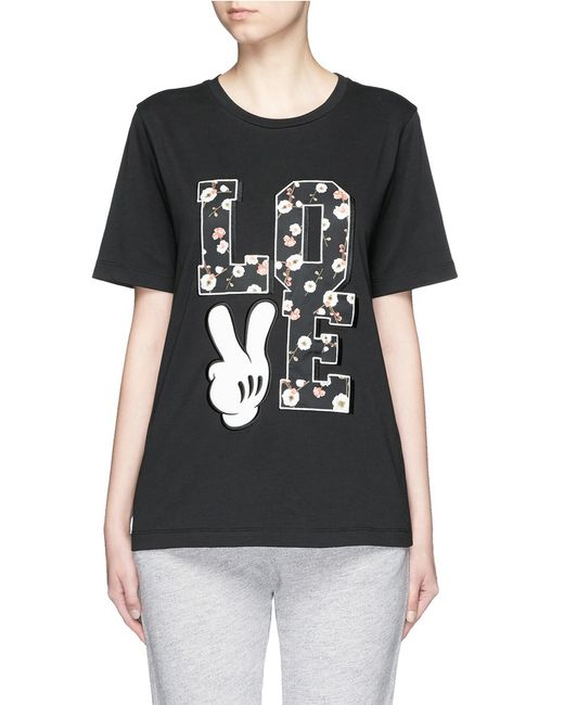 Mo Co 39 Love 39 Mickey Mouse Appliqu T Shirt In Black Lyst