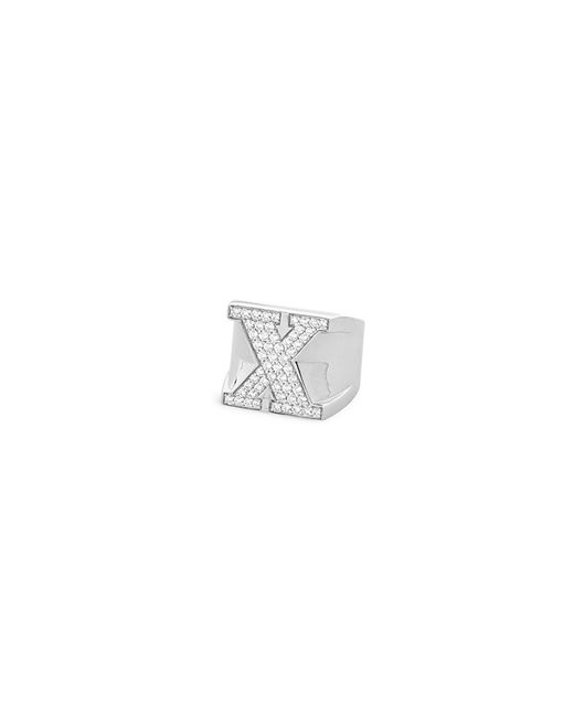 Lynn Ban - Metallic 'pavé X' Diamond Sterling Silver Ring - Lyst