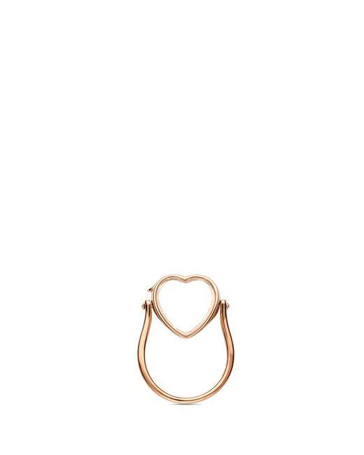 Loquet London | Metallic 14k Rose Gold Heart Locket Ring - Medium 15mm | Lyst