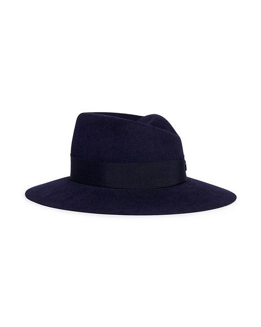 Maison Michel - Blue 'virginie Timeless' Rabbit Furfelt Fedora Hat - Lyst