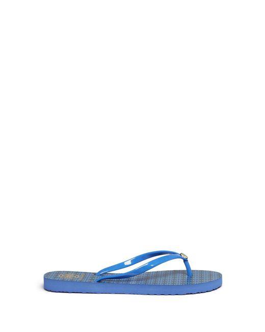 Tory Burch   Blue 'thin' Geometric Print Flip Flops   Lyst