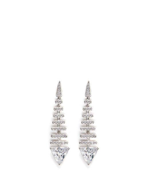 CZ by Kenneth Jay Lane | Metallic 'trend' Cubic Zirconia Fishbone Drop Earrings | Lyst