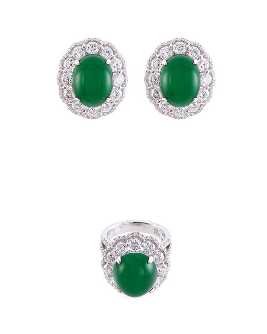LC COLLECTION - Metallic Diamond Jade 18k Gold Ring And Earrings Set - Lyst