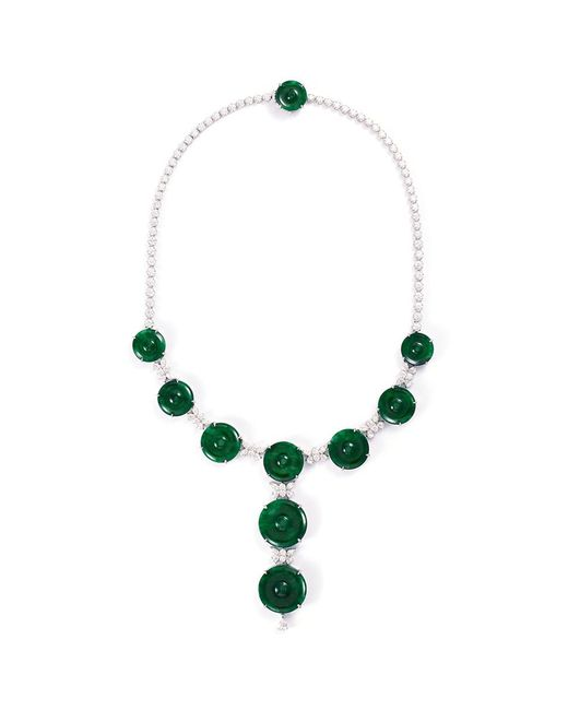 LC COLLECTION - Metallic Diamond Jade 18k White Gold Disc Necklace - Lyst