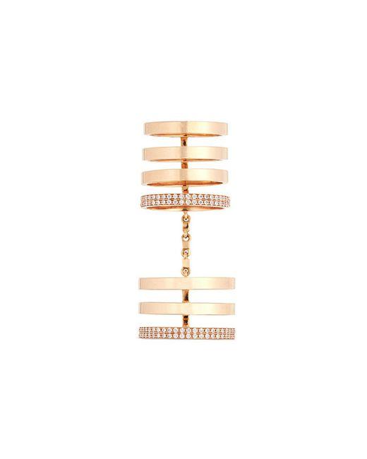 Repossi - Metallic 'berbère' Diamond 18k Rose Gold Seven Row Linked Ring - Lyst