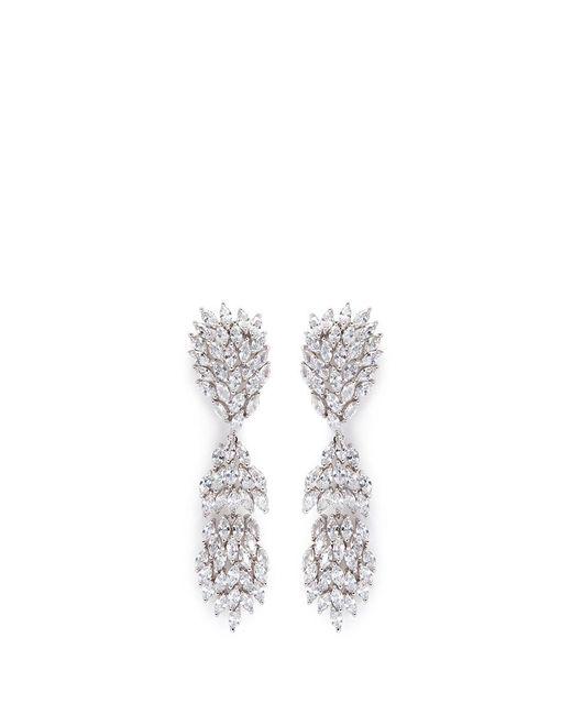 CZ by Kenneth Jay Lane - Metallic Cubic Zirconia Marquise Link Drop Earrings - Lyst