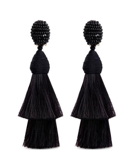 Oscar de la Renta | Black Beaded Horse Hair Tassel Clip Earrings | Lyst