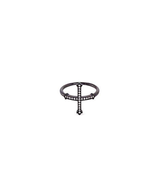 Lynn Ban - Metallic Diamond Rhodium Silver Cross Ring - Lyst