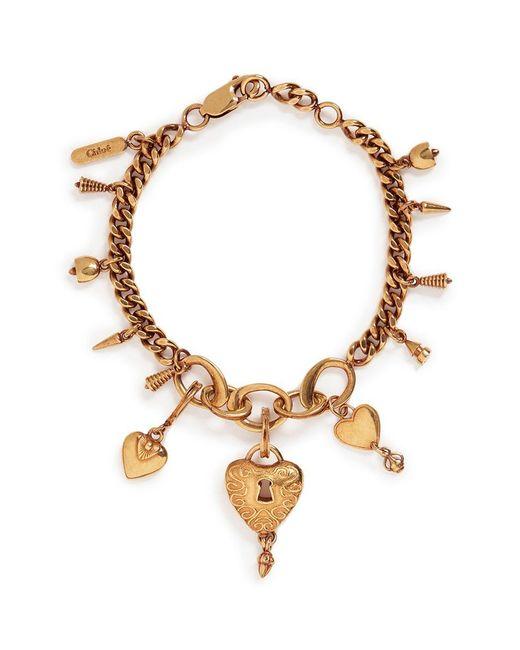 Chloé | Metallic 'collected Hearts' Charm Bracelet | Lyst