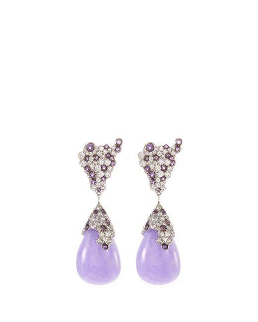 Roberto Coin - Purple Diamond Jade 18k White Gold Teardrop Earrings - Lyst