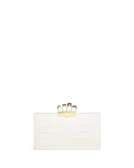 Alexander McQueen - White Swarovski Crystal Croc Embossed Leather Knuckle Flat Pouch - Lyst