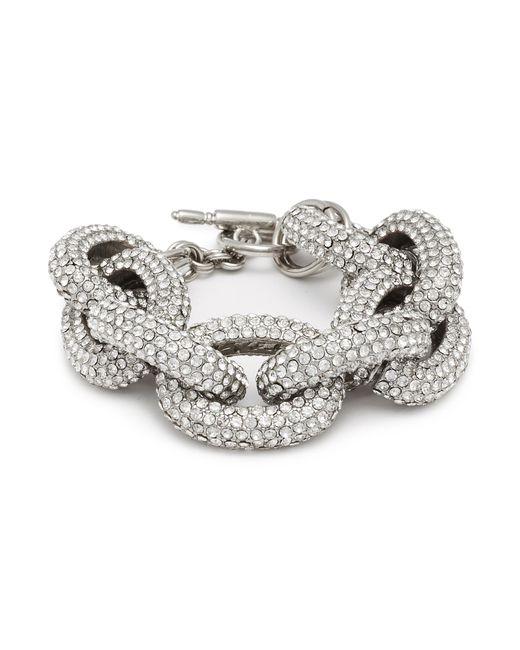 Kenneth Jay Lane - Metallic Glass Crystal Interlocking Link Chain Bracelet - Lyst
