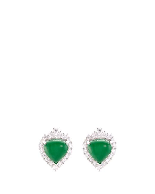 LC COLLECTION - Metallic Diamond Jade 18k White Gold Earrings - Lyst