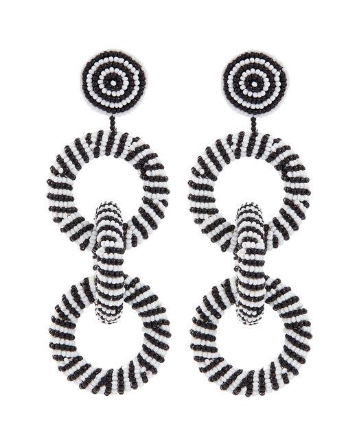 Kenneth Jay Lane - Multicolor Interlocking Seed Bead Hoop Drop Earrings - Lyst