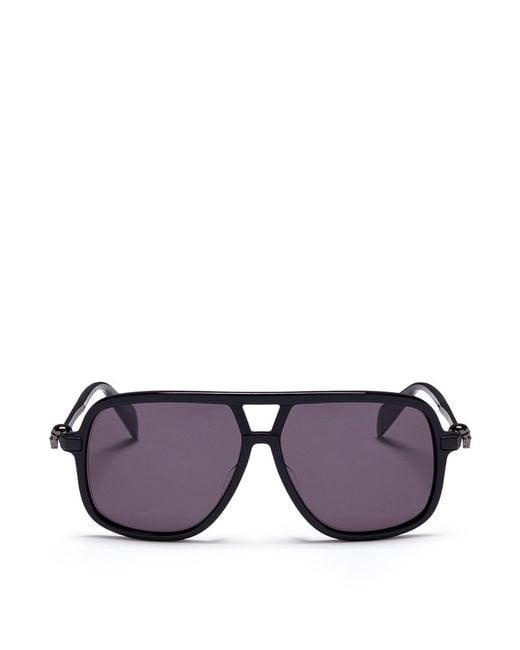 Alexander McQueen   Black Skull Stud Metal Aviator Sunglasses   Lyst