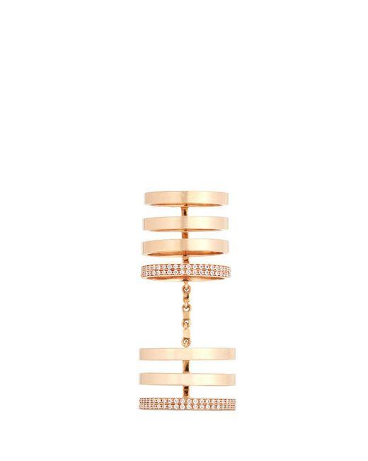 Repossi   Metallic 'berbère' Diamond 18k Rose Gold Seven Row Linked Ring   Lyst