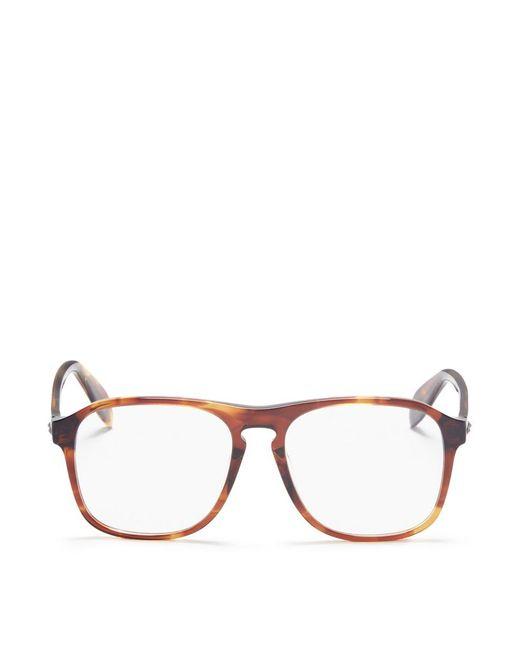 Alexander McQueen - Brown Stud Tortoiseshell Acetate Square Optical Glasses - Lyst
