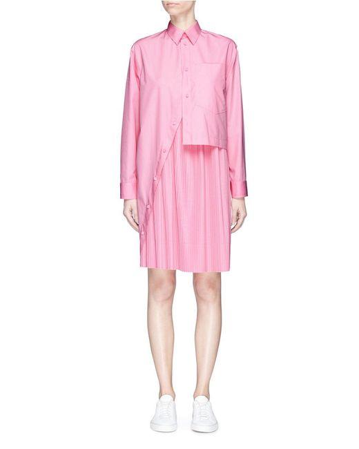 Cedric Charlier - Pink Asymmetric Shirt Panel Plissé Pleated Dress - Lyst