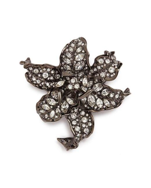 Kenneth Jay Lane - Metallic Glass Crystal Floral Brooch - Lyst