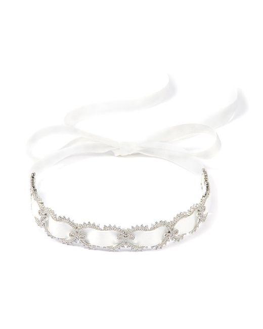 HEFANG - Metallic 'lace' Cubic Zirconia Silver Ribbon Tie Choker - Lyst