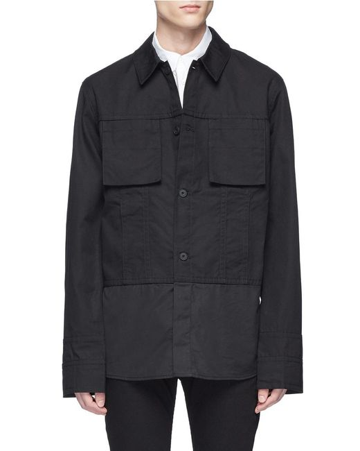 Helmut Lang - Black Cotton Canvas Shirt Jacket for Men - Lyst